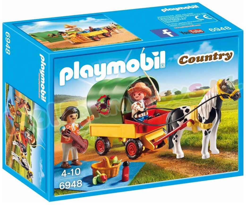 playmobil picknick met ponywagen 6948 playmobil. Black Bedroom Furniture Sets. Home Design Ideas