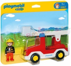 PLAYMOBIL 1.2.3 BRANDWEERWAGEN + LADDER