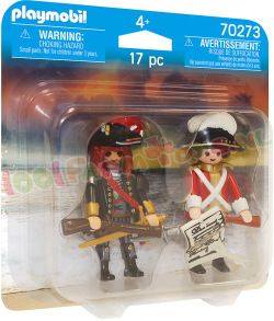 PLAYMOBIL Piratenkapiteit+Roodroksoldaat