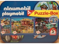PLAYMOBIL PUZZELKOFFER MET 4 PUZZELS 6+